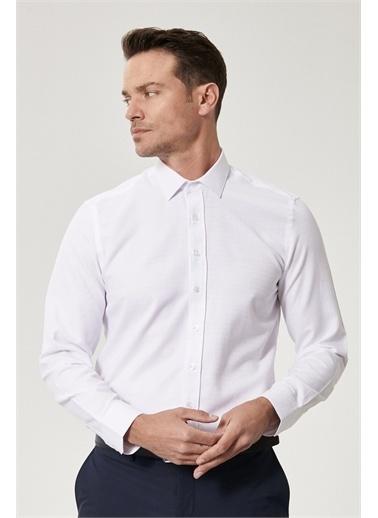 Altınyıldız Classics Tailored Slim Fit Klasik Gömlek Yaka Armürlü Gömlek 4A2021200010 Beyaz